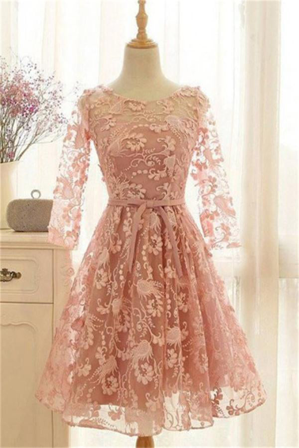 Elegant Long Sleeves Pink Lace Up A-line Lace Homecoming Dresses Z1352