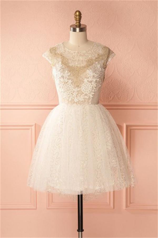 Cap Sleeves Ivory Sparkly Short Homecoming Dresses For Teens Z1353