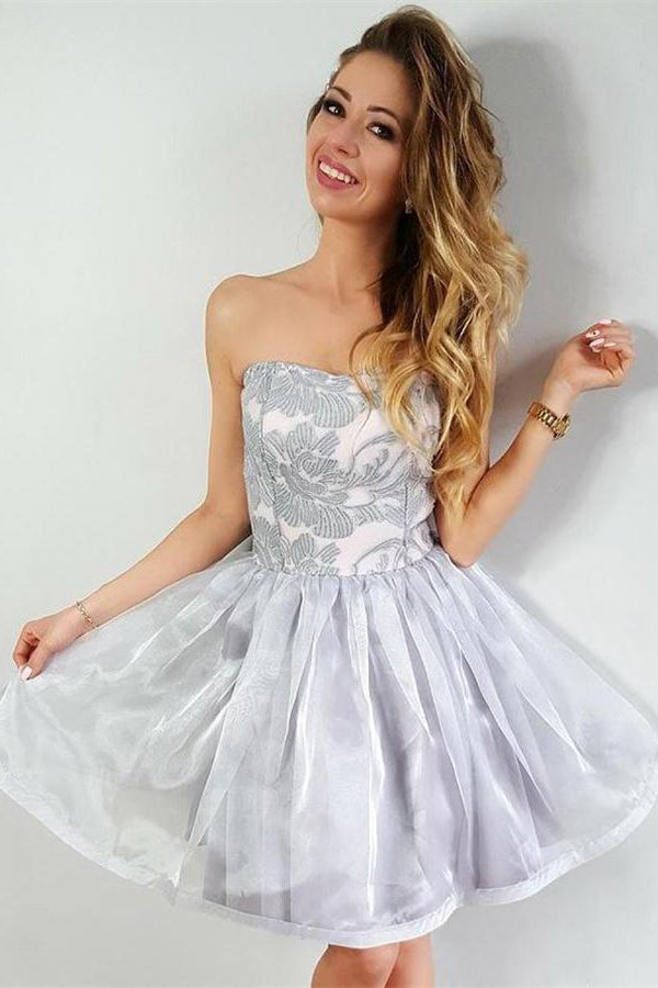 Strapless Simple Elegant Short Lace Homecoming Dresses Party Dresses Z1354