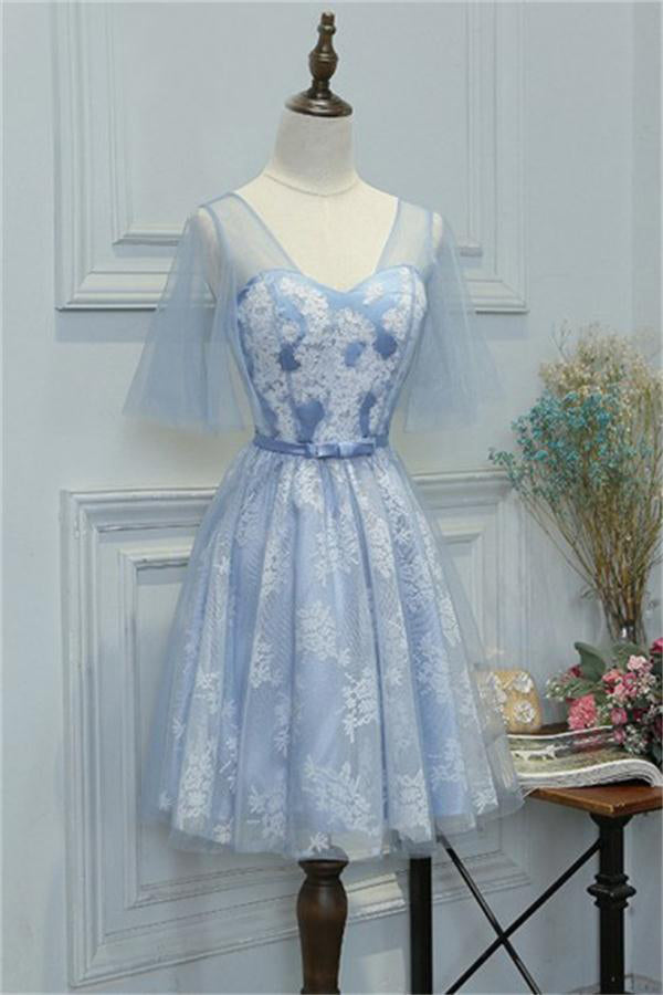 Elegant Light Blue Lace Tulle A-line Homecoming Dresses For Teens Z1355