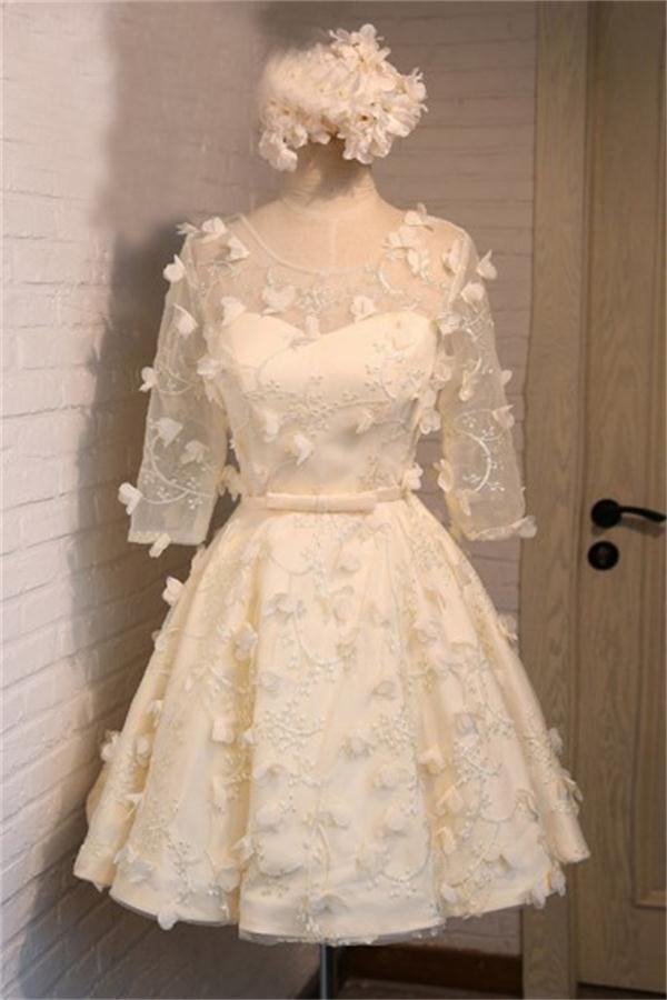 Charming Half Sleeves Short Lace Up Homecoming Dresses With Appliques Z1356