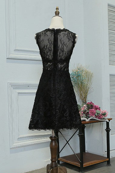 Modest Elegant Short A-line Black Lace Homecoming Dresses Prom Dresses Z1357