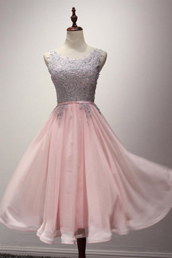 Flowy Lace Chiffon Pink A-lone Simple Cheap Homecoming Dresses Z1358
