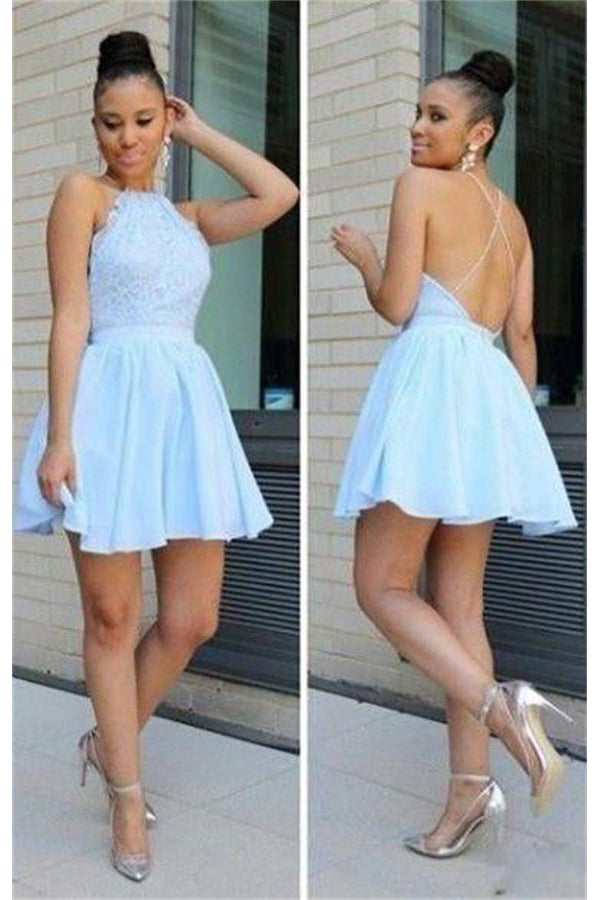 Pretty Short A-line Light Blue Lace Chiffon Simple Homecoming Dresses Z1361
