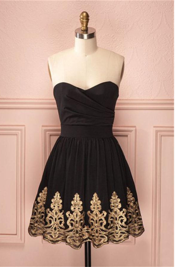 Black Short Sweetheart Lace A-line Homecoming Dresses Cocktail Dresses Z1362