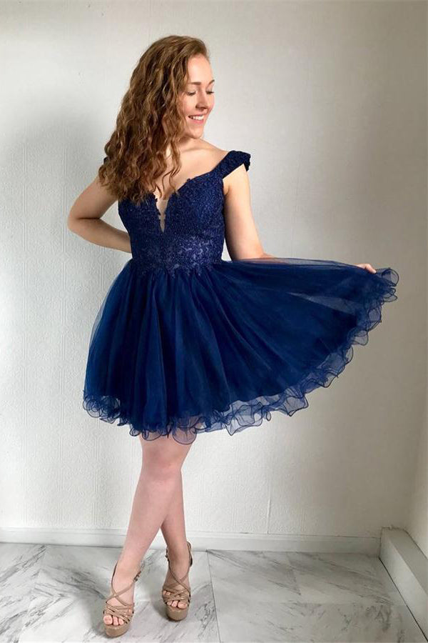 Navy Blue Lace Tulle A-line Homecoming Dresses Short Prom Dresses Z1364