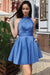 Simple Cheap Blue Short A-line Homecoming Dresses With Pockets Z1365