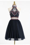 2 Pieces Halter Open Back Short A-line Black Homecoming Dresses Z1366