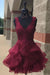 V-neck Burgundy Lace Cute Short Simple Cheap Homecoming Dresses Z1367