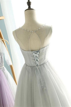 Elegant Silver Gray Short A-line Beading Tulle Cute Homecoming Dresses Z1368
