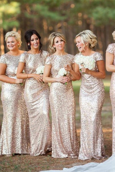 Cap Sleeves Sparkly Sequin Shiny Long Sheath Backless Bridesmaid Dresses Z1391