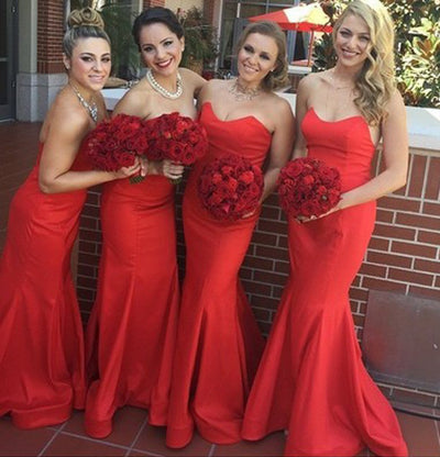 Beauty Long Strapless Mermaid Red Simple Cheap Bridesmaid Dresses Z1401
