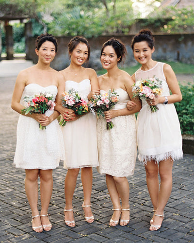 Classy Ivory Short Knee Length Lace Simple Bridesmaid Dresses Z1446