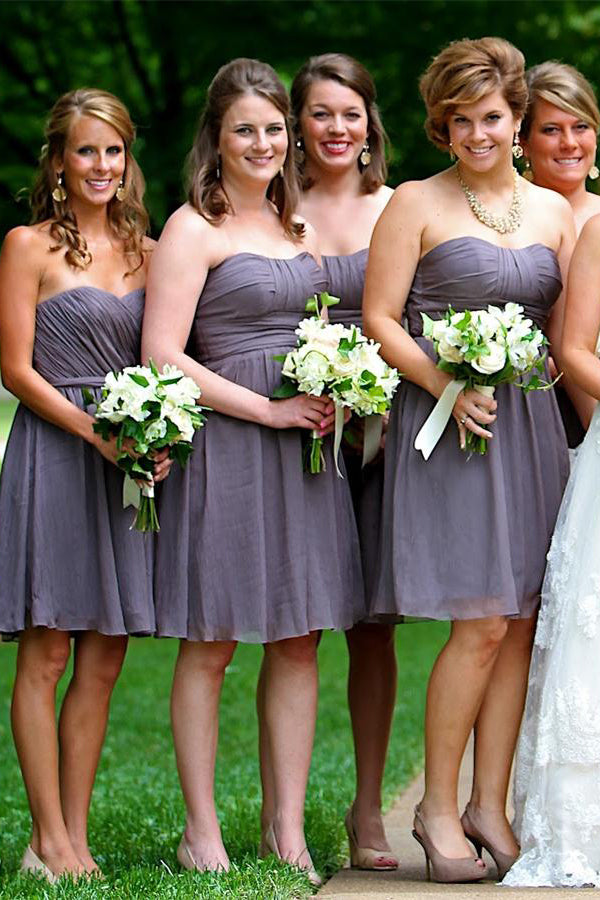 Strapless Short A-line Simple Cheap Flowy Backless Bridesmaid Dresses Z1452