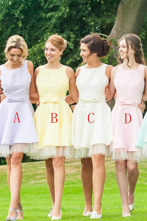 Cute A-line Simple Cheap Short Bridesmaid Dresses Cocktail Dresses Z1454