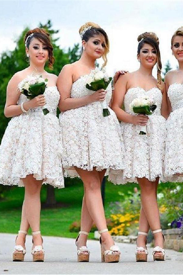 Plus Sizes Ivory Lace Sweetheart A-line Short Bridesmaid Dresses Z1455