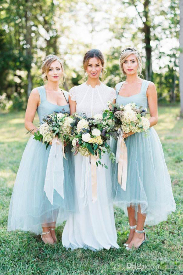 Flowy Pretty High Low Square Neckline Simple Tulle Bridesmaid Dresses Z1457