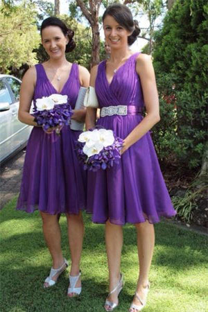 Flowy V-neck Purple Chiffon Short A-line Simple Cheap Bridesmaid Dresses Z1459