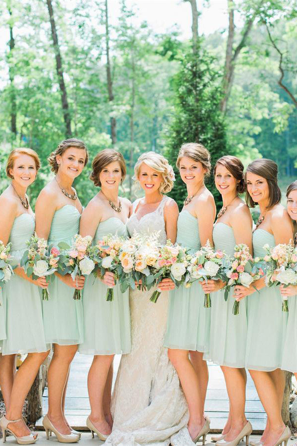 Sweetheart A-line Open Back Mint Chiffon Short Bridesmaid Dresses Z1465