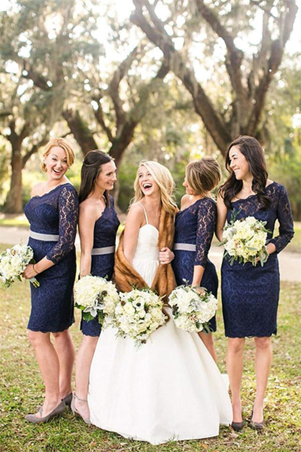 Modest One Sleeve Navy Blue Lace Sheath Short Bridesmaid Dresses Z1467