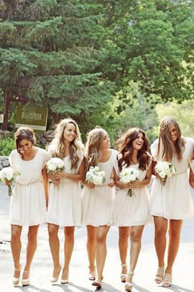 Elegant Simple Cheap Ivory Chiffon Flowy Bridesmaid Dresses Casual Dresses Z1474