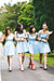 Off The Shoulder Light Blue Simple Elegant Short Bridesmaid Dresses Z1476
