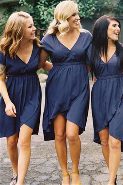Casual Short V-neck Cap Sleeves Blue V-neck Bridesmaid Dresses Z1477