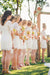 Charming Elegant Short Open Back Ivory Lace Bridesmaid Dresses With Sleeves Z1479