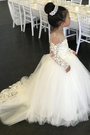 Ivory Long Sleeves Lace Tulle Ball Gown Flower Girl Dresses With Bowknot Z1491