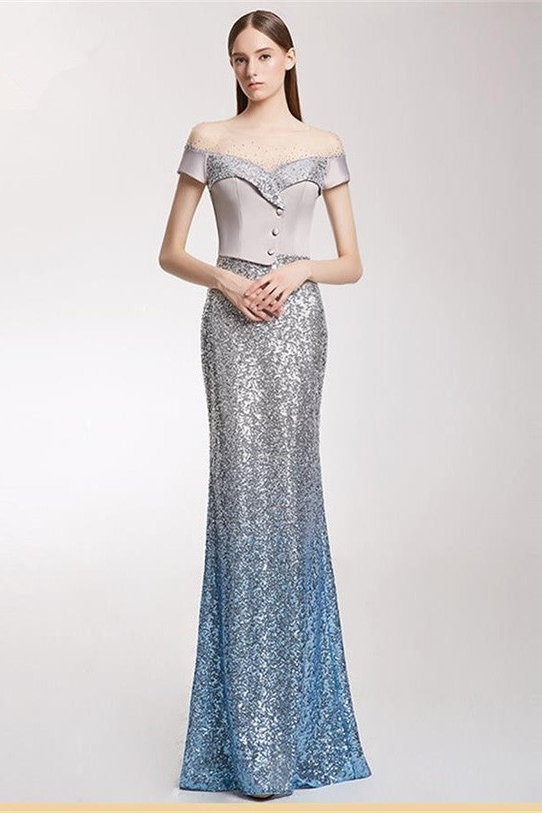 Modest Short Sleeves Long Sheath Sequin Shiny Vintage Prom Dresses Z1514