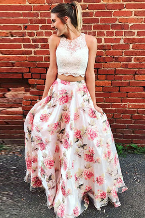 Beautiful Long 2 Pieces Floral Print Lace Prom Dresses For Teens Z1551
