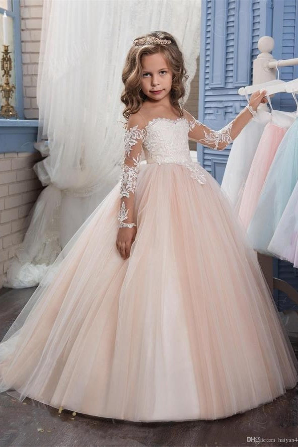 Simple Ball Gown Long Sleeves Lace Flower Girl Dresses For Child Z1560