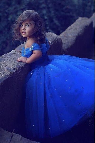 Pretty Ball Gown Cute Royal Blue Off The Shoulder Flower Girl Dresses Z1561