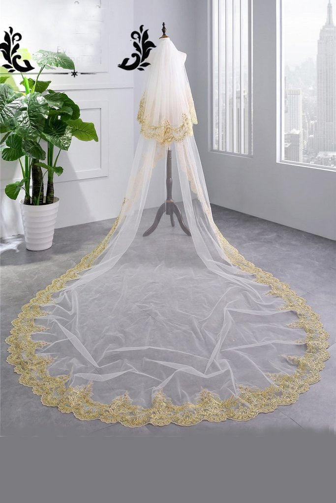 Fashion Long Ivory 4M Tulle With Gold Lace Applique Edge Wedding Veil Z1564