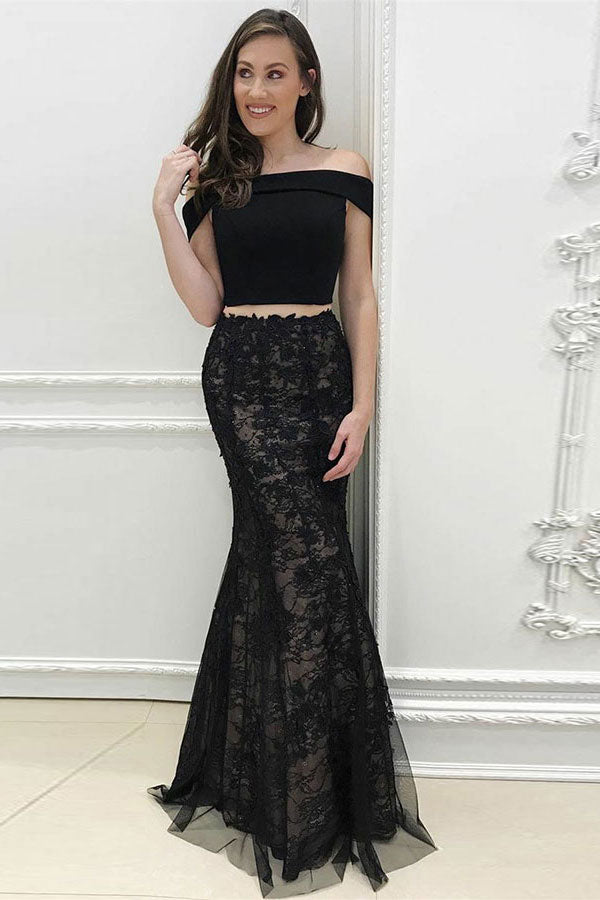 Elegant Black Lace Tulle Long 2 Pieces Prom Dresses Evening Dresses Z1570