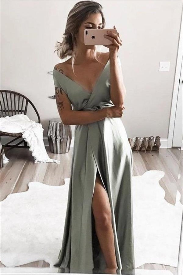 Simple Long V-neck Elegant Prom Dresses Charming Evening Dresses Z1605