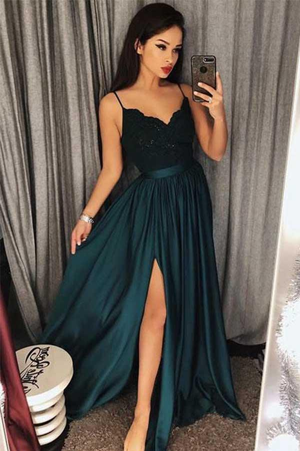 Dark Green Long Front Spaghetti Straps Lace Open Back Prom Dresses Z1614