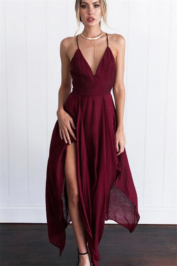 Flowy V-neck Simple Cheap Elegant Open Back Prom Dresses Party Dresses Z1615