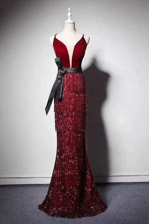 Sparkly Gorgeous Long Mermaid Burgundy Spaghetti Straps Prom Dresses Z1627