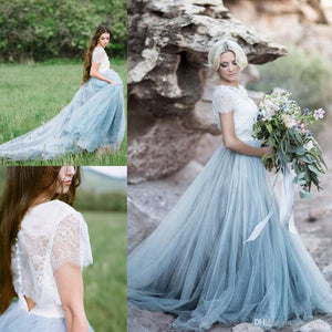 Elegant Short Sleeves Lace Tulle Prom Dresses Beach Wedding Dresses Z1646