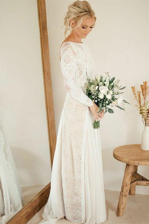 Elegant Long Sleeves Open Back Ivory Lace Chiffon Long Wedding