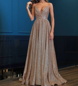Sparkly Long A-line V-neck A-line Modest Prom Dresses Evening Dresses Z1681