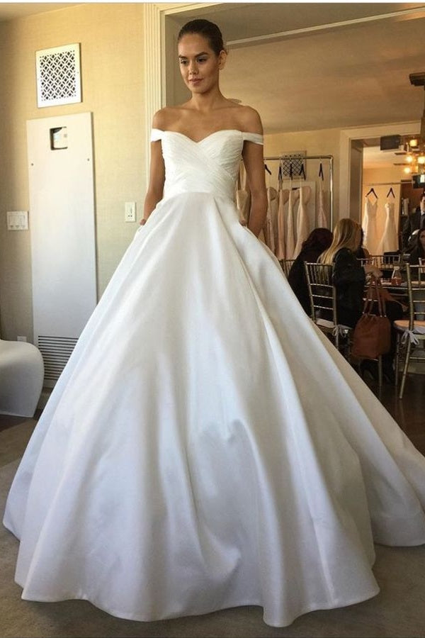 Wedding Dress With Pockets.Off The Shoulder Ball Gown Ivory Satin Long Wedding Dresses With Pockets Z1715
