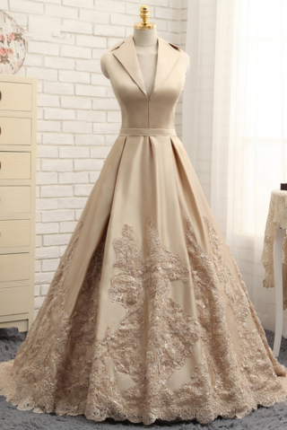Vintage Long Sleeveless Lace Satin Long V-neck Prom Dresses Evening Dresses Z1730