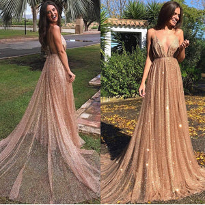 Sequin Shiny Simple Spaghetti Straps Long A-line Prom Dresses Party Dresses Z1750