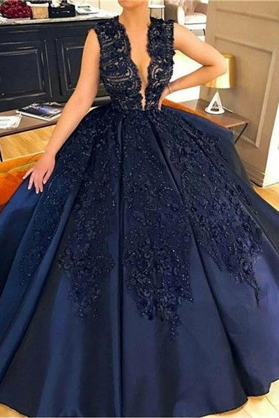 Deep V-neck Modest Lace Satin Navy Blue Ball Gown Princess Prom Dresses Z1794