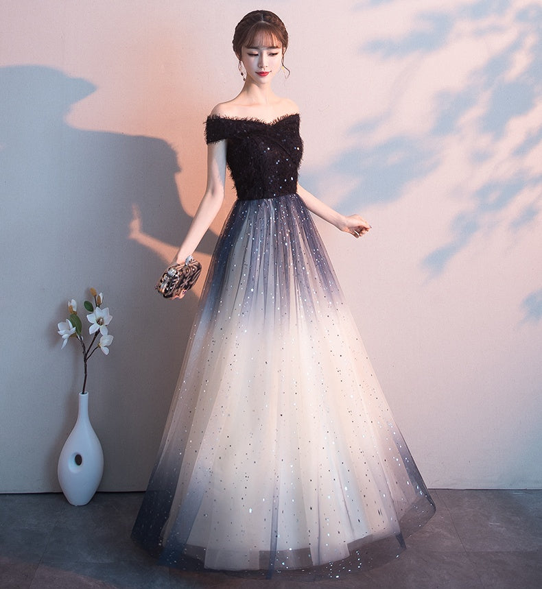b5d26a5fac Pretty Floor Length Off The Shoulder Black Ombre Tulle Long Prom Dresses  Z1797