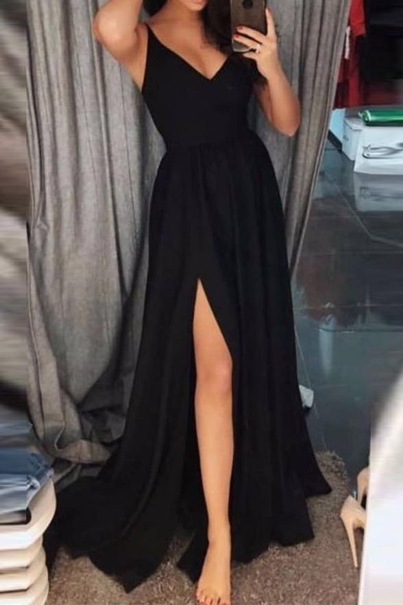 Simple Cheap A-line Front Split V-neck Black Long Prom Dresses Z1822