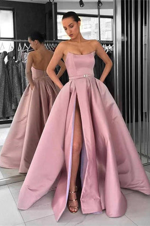 Fashion Strapless Open Back Long Pink Satin Prom Dresses Party Dresses Z1823