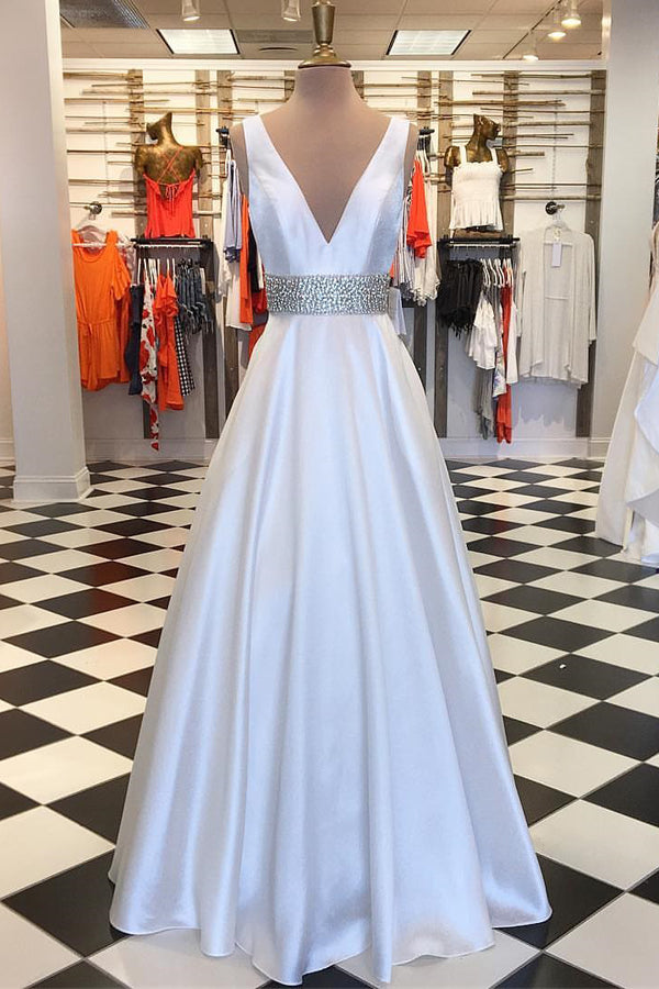 Simple White Long V-neck A-line Beading Party Dresses Prom Dresses Z1828